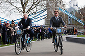 31/03/2011. London Mayor Boris Johnson showing Hollywood Star and former California Governor Arnold Schwarzenegger the successful Barclay's Cycle Hire Scheme which has been running for eight months now.