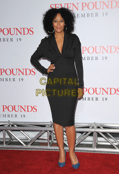 "TRACEE ELLIS ROSS .L.A. Premiere of ""Seven Pounds"" held at The Mann Village Theatre in Westwood, California, USA. .December 16th, 2008.full length black dress blue shoes hand on hip.CAP/DVS.©Debbie VanStory/Capital Pictures."