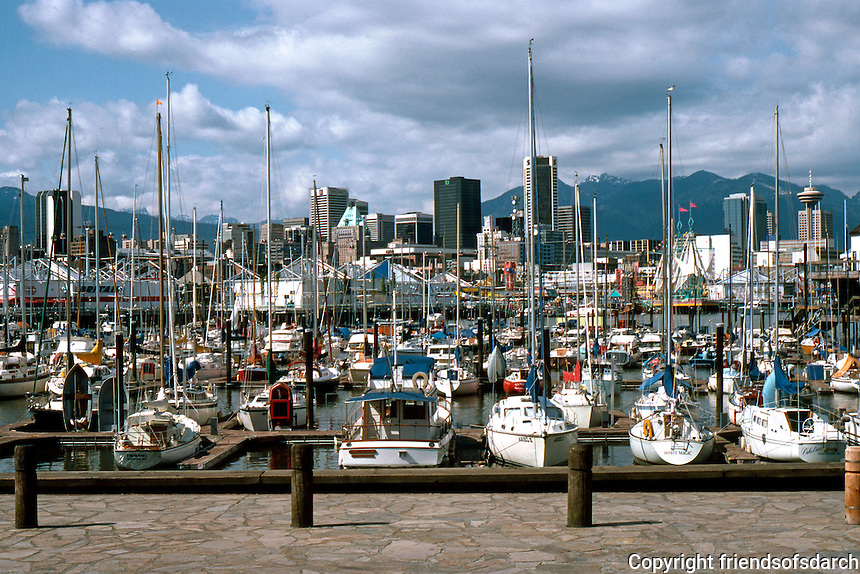 Vancouver: False Creek Tour: Downtown, EXPO, and boat basin viewed from Milbank. Photo '86.