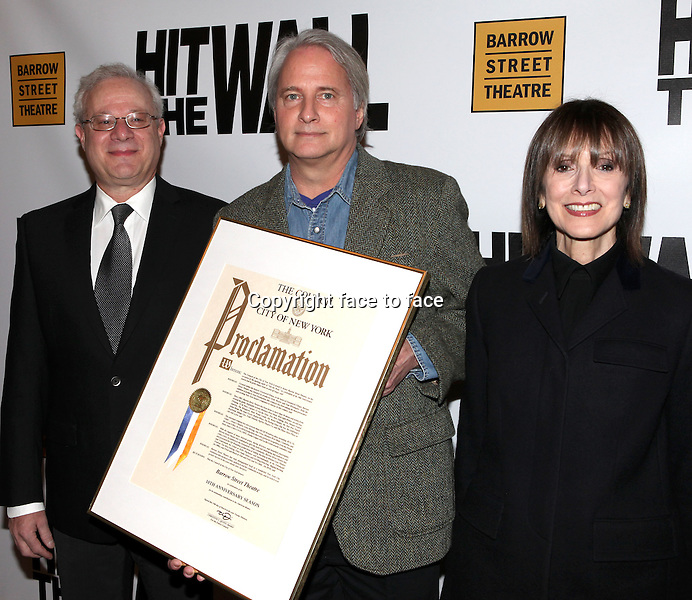 """Tom Wirtshafter, Scott Morfee and Jean Doumanian attending the New York Premiere of the Opening Night Performance of """"Hit The Wall"""" at the Barrow Street Theatre in New York City on 3/10/2013...Credit: McBride/face to face"""