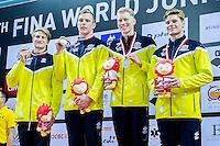 Team Australia AUS<br /> 4X200 Freestyle Men Relay Final Silver Medal<br /> Day04 28/08/2015 - OCBC Aquatic Center<br /> V FINA World Junior Swimming Championships<br /> Singapore SIN  Aug. 25-30 2015 <br /> Photo A.Masini/Deepbluemedia/Insidefoto