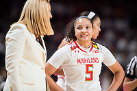 College Park, MD - DEC 29, 2016: Maryland Terrapins head coach Brenda Frese talks with Maryland Terrapins guard Destiny Slocum (5) during a free moment during the game between No. 1 UConn and the No. 3 Terrapins at the XFINITY Center in College Park, MD. UConn defeated Maryland 87-81. (Photo by Phil Peters/Media Images International)