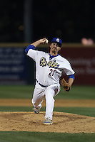 Rob Rogers (21) of the Rancho Cucamonga Quakes pitches during a game against the High Desert Mavericks at LoanMart Field on August 18, 2015 in Rancho Cucamonga, California. High Desert defeated Rancho Cucamonga, 4-0. (Larry Goren/Four Seam Images)