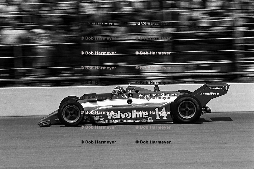 INDIANAPOLIS, IN - MAY 24: AJ Foyt drives his Coyote 81 1/Cosworth during the Indianapolis 500 USAC/CART Indy Car race at the Indianapolis Motor Speedway in Indianapolis, Indiana, on May 24, 1981.
