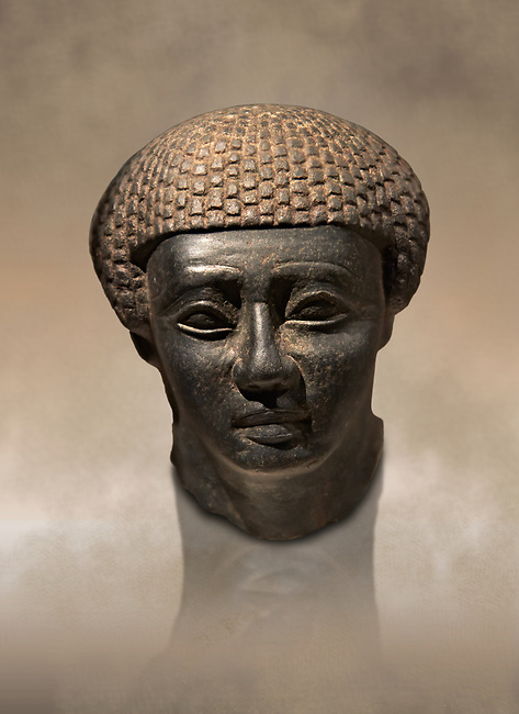 Granite ancient Egyptian statue head of a man from Thebes. 2000 BC . Neues Reich Museum Berlin Cat No: AM 1254.