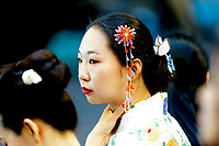8th January 2020; RAC Arena, Perth, Western Australia; ATP Cup Australia, Perth, Day 6; Spain versus Japan; a Japanese supporter watches the game between Japan and Spain - Editorial Use