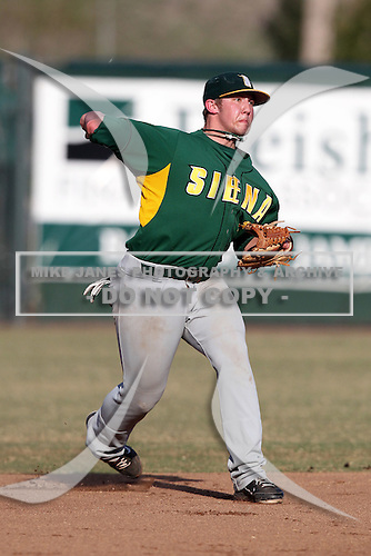 Siena Saints Andrew Sawyer #1 during a game vs Stetson Hatters at Melching Field in De Land, Florida;  March 16, 2011.  Stetson defeated Siena 5-1.  Photo By Mike Janes/Four Seam Images