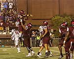 September 21, 2017. Durham, North Carolina.<br /> <br /> After kicking the extra point on the game winning touchdown, #30 Aedan Johnson is lifted up by teammate Nick Leverett. <br /> <br /> The NCCU Eagles won a home game against the the South Carolina State Bulldogs 33-28 at O'Kelly–Riddick Stadium.