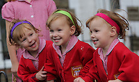2016 09 09 Identical triplets wear colour coded hairbands, Pontypool, UK