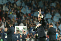 Aston Villa's Head Coach Dean Smith waves and holds his heart to the the Villa fans. Aston Villa vs Manchester City, Caraboa Cup Final Football at Wembley Stadium on 1st March 2020
