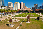 The Curtis Hixon Waterfront Park, an eight acre sustainable park with reclaimed water for irrigation and the capacity to accomodate a range of programs and performances, with a view of downtown Tampa, Florida