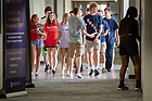 August 18, 2018; Moreau First Year Experience students leave their classrooms in DeBartolo Hall. (Photo by Matt Cashore/University of Notre Dame)