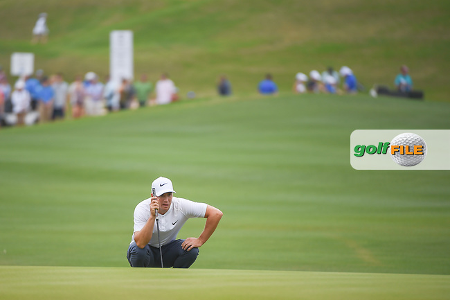 Alex Noren (SWE) lines up his putt on 12 during sudden death playoff with Kevin Kisner (USA) during day 5 of the World Golf Championships, Dell Match Play, Austin Country Club, Austin, Texas. 3/25/2018.<br /> Picture: Golffile | Ken Murray<br /> <br /> <br /> All photo usage must carry mandatory copyright credit (© Golffile | Ken Murray)