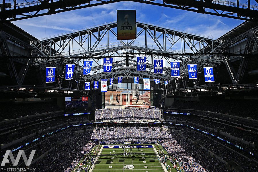 Sep 15, 2013; Indianapolis, IN, USA; General view of Lucas Oil Stadium during the third quarter during an NFL game between the Miami Dolphins and Indianapolis Colts.  Mandatory Credit: Andrew Weber-USA TODAY Sports
