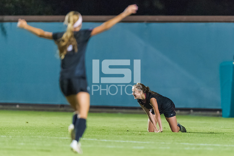 STANFORD, CA - August 17, 2012: Natalie Griffen celebrates the second of her two goals during the Stanford women's soccer match vs Santa Clara in Stanford, California. Stanford won 6-1.