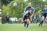 "DARMSTADT, GERMANY - SEPTEMBER 15: Regionalliga Hessen rugby match between TG 1875 Darmstadt (light blue) and URC Gießen 01 (dark blue) at the TG 1875 Darmstadt sports ground ""Am Ziegelbusch"" on September 15, 2012 in Darmstadt, Germany. (Photo by Dirk Markgraf)"
