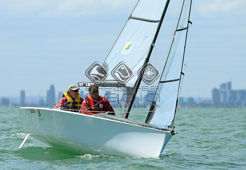 Skud 18 / Russell PHILLIPS &amp; Sally WILKINSON (AUS)<br /> 2013 ISAF Sailing World Cup - Melbourne<br /> Sail Melbourne - The Asia Pacific Regatta<br /> Sandringham Yacht Club, Victoria<br /> December 1st - 8th 2013<br /> &copy; Sport the library / Jeff Crow