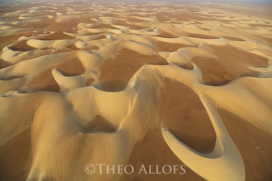 Chad (Tchad), North Africa, Sahara, Borkou District, aerial of sand dunes