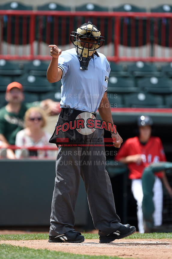 Umpire Jeremie Rehak makes a call during a game between the Binghamton Mets and Erie Seawolves on July 13, 2014 at Jerry Uht Park in Erie, Pennsylvania.  Binghamton defeated Erie 5-4.  (Mike Janes/Four Seam Images)