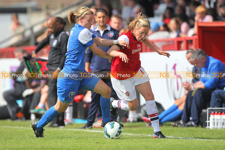 Gemma Davison of Arsenal tussles with Grace McCatty of Bristol - Arsenal Ladies vs Bristol Academy - FA Womens Super League Continental Cup Football at Boreham Wood FC - 19/05/13 - MANDATORY CREDIT: Gavin Ellis/TGSPHOTO - Self billing applies where appropriate - 0845 094 6026 - contact@tgsphoto.co.uk - NO UNPAID USE.