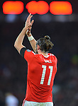 Gareth Bale of Wales celebrates scoring the opening goal of the game during the FIFA World Cup Qualifying match at the Cardiff City Stadium, Cardiff. Picture date: November 12th, 2016. Pic Robin Parker/Sportimage