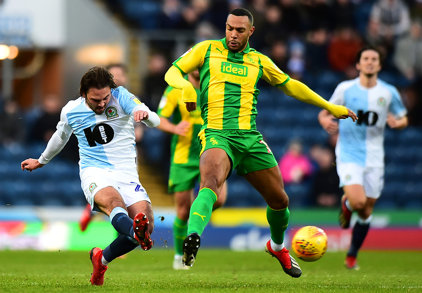 Blackburn Rovers' Bradley Dack competes with West Bromwich Albion's Matt Phillips<br /> <br /> Photographer Richard Martin-Roberts/CameraSport<br /> <br /> The EFL Sky Bet Championship - Blackburn Rovers v West Bromwich Albion - Tuesday 1st January 2019 - Ewood Park - Blackburn<br /> <br /> World Copyright © 2019 CameraSport. All rights reserved. 43 Linden Ave. Countesthorpe. Leicester. England. LE8 5PG - Tel: +44 (0) 116 277 4147 - admin@camerasport.com - www.camerasport.com