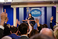 White House Press Secretary Sarah Huckabee Sanders  briefs the media in the White House Brady Press Briefing Room in Washington, DC on Monday, March 11, 2019. The last Sanders press briefing was 42 days ago. Photo Credit: Ron Sachs/CNP/AdMedia