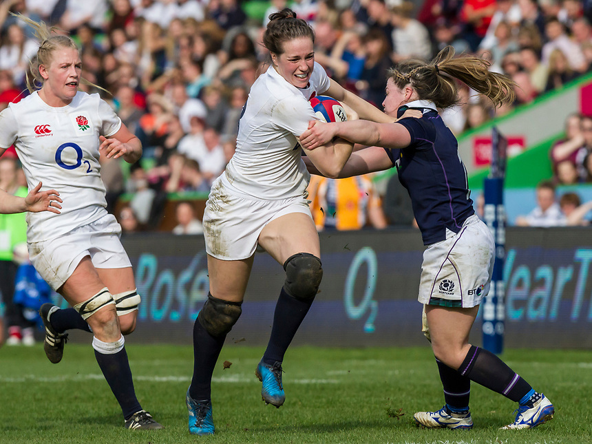 Emily Scarratt in action, England Women v Scotland Women in a 6 Nations match at Twickenham Stoop, London, England, on 11th March 2017 Final Score 64-0