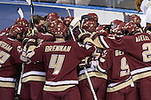 BC huddle - The University of Wisconsin Badgers defeated the Boston College Eagles 2-1 on Saturday, April 8, 2006, at the Bradley Center in Milwaukee, Wisconsin in the 2006 Frozen Four Final to take the national Title.