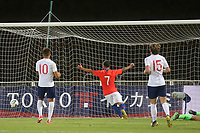 Chile celebrate scoring their second goal during Chile Under-21 vs England Under-20, Tournoi Maurice Revello Football at Stade Parsemain on 7th June 2019