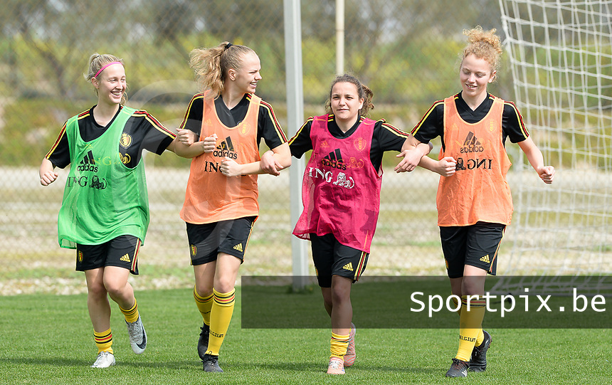 20180306 - LARNACA , CYPRUS :  Belgian Celien Guns , Sarah Wijnants , Davina Philtjens and Charlotte Tison (r) pictured during a Matchday -1 training from The Belgian Red Flames prior to their game against South Africa , on tuesday 6 March 2018 at the Alpha Sports Grounds in Larnaca , Cyprus . This will be the final game for Belgium during the Cyprus Womens Cup for a battle for the 5th place , a prestigious women soccer tournament as a preparation on the World Cup 2019 qualification duels. PHOTO SPORTPIX.BE | DAVID CATRY
