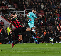 Bournemouth's Charlie Daniels (left) vies for possession battles with Newcastle United's DeAndre Yedlin (right)  <br /> <br /> Photographer David Horton/CameraSport<br /> <br /> The Premier League - Bournemouth v Newcastle United - Saturday 16th March 2019 - Vitality Stadium - Bournemouth<br /> <br /> World Copyright © 2019 CameraSport. All rights reserved. 43 Linden Ave. Countesthorpe. Leicester. England. LE8 5PG - Tel: +44 (0) 116 277 4147 - admin@camerasport.com - www.camerasport.com