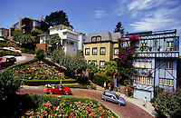 colorfull painted houses in Lombard Street in San Francisco, California, USA