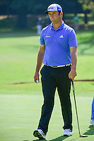 Jon Rahm (ESP) after sinking his putt on 1 during round 1 of the World Golf Championships, Mexico, Club De Golf Chapultepec, Mexico City, Mexico. 3/2/2017.<br /> Picture: Golffile | Ken Murray<br /> <br /> <br /> All photo usage must carry mandatory copyright credit (&copy; Golffile | Ken Murray)