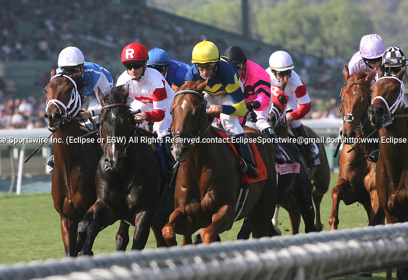 7 November 2009: The field passes the grandstand for the first time in the Breeders Cup Juvenile Turf at Santa Anita Race Track in Arcadia, CA....