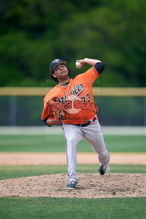 Baltimore Orioles pitcher Willie Rios (73) during a Minor League Spring Training game against the Boston Red Sox on March 20, 2018 at Buck O'Neil Complex in Sarasota, Florida.  (Mike Janes/Four Seam Images)