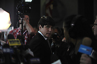 A teary eyed former Illinois Governor Rod Blagojevich speaks briefly to the media after being found guilty of 17 counts of wire fraud, attempted extortion, bribery, extortion conspiracy and bribery conspiracy as he leaves the Dirksen Federal Building in Chicago, Illinois on June 27, 2011. He was acquitted on one charge of bribery, and the jury deadlocked on two counts of attempted extortion.