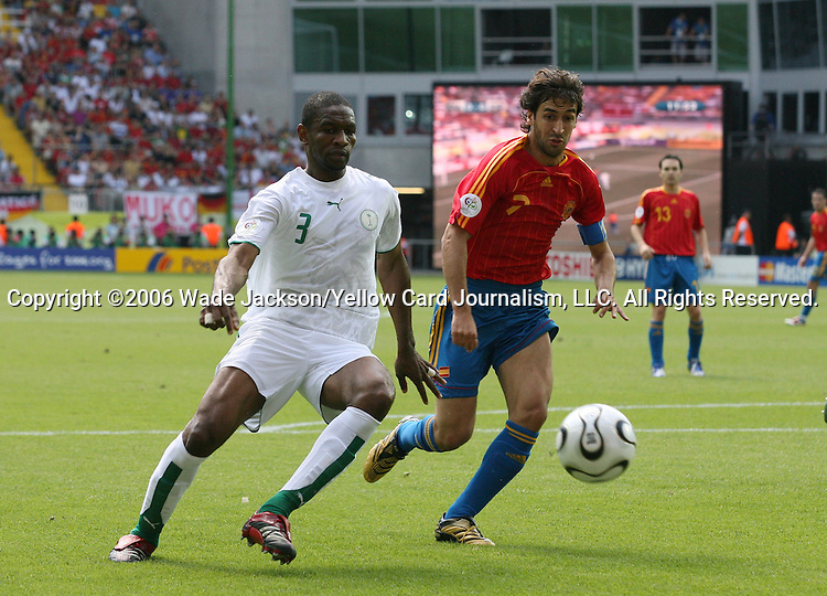 23 June 2006: Redha Tukar (KSA) (3) and Raul (ESP). Saudi Arabia lost to Spain at Fritz-Walter Stadion in Kaiserslautern, Germany in match 47, a Group H first round game, of the 2006 FIFA World Cup.