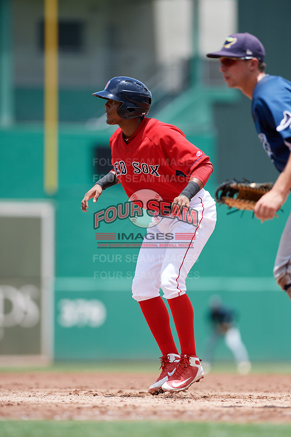 GCL Red Sox designated hitter Antoni Flores (19) leads off first base during a game against the GCL Rays on August 1, 2018 at JetBlue Park in Fort Myers, Florida.  GCL Red Sox defeated GCL Rays 5-1 in a rain shortened game.  (Mike Janes/Four Seam Images)