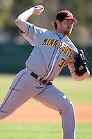 February 28, 2010:  Pitcher Allen Bechstein of the Minnesota Golden Gophers during the Big East/Big 10 Challenge at Raymond Naimoli Complex in St. Petersburg, FL.  Photo By Mike Janes/Four Seam Images