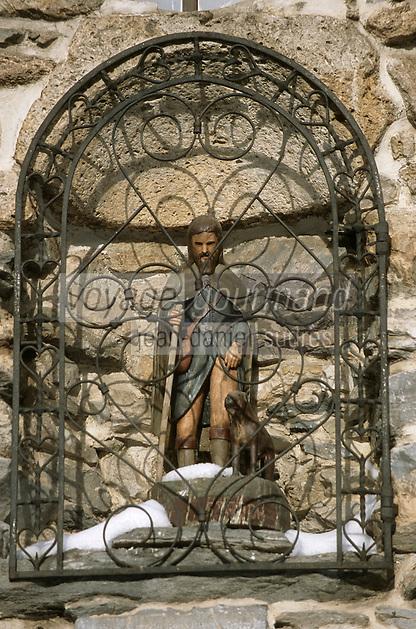 Europe/France/73/Savoie/Val d Isere: Chapelle St Bernard de Menthon detail statuette de Saint Roch