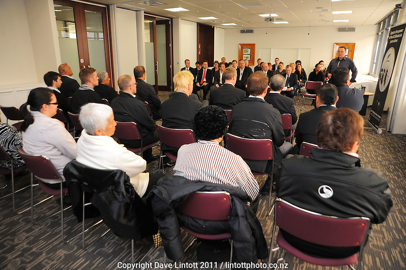 NZ Post's Charlie Ropitini addresses members of Ngati Toa and NZRU. NZ Post 2011 haka coin launch at NZ Post head office, Wellington, New Zealand on Tuesday, 30 August 2011. Photo: Dave Lintott / lintottphoto.co.nz