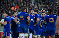 France's Mathieu Bastareaud talks to his team during the Steinlager Series international rugby match between the New Zealand All Blacks and France at Westpac Stadium in Wellington, New Zealand on Saturday, 16 June 2018. Photo: Dave Lintott / lintottphoto.co.nz