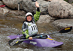 June 5, 2009:  USA's Emily Jackson waves to the crowd prior to the Freestyle Kayak completion at the Teva Mountain Games, Vail, Colorado.