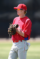 March 30, 2010:  First Baseman Ryan Bollinger of the Philadelphia Phillies organization during Spring Training at the Carpenter Complex in Clearwater, FL.  Photo By Mike Janes/Four Seam Images