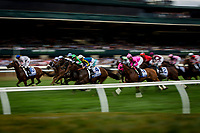 LEXINGTON, KY - OCTOBER 07: The field for the Shadwell Turf Mile Stakes runs past the grandstand at Keeneland Race Course on October 07, 2017 in Lexington, Kentucky. (Photo by Alex Evers/Eclipse Sportswire/Getty Images)