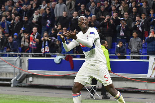 2nd November 2017, Nice, France; EUFA Europa League, Olympique Lyonnais versus Everton; Mouctar Diakhaby (lyon)  celebrates as his team take the lead
