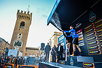 Adam Yates (GBR) Mitchelton-Scott retains the race leaders Maglia Azzurra on the podium at the end of Stage 5 of the Race of the Two Seas, the 54th Tirreno-Adriatico 2019, running 180km from Colli al Matauro to Recanati, Italy. 17th March 2019.<br /> Picture: LaPresse/Gian Mattia D'Alberto | Cyclefile<br /> <br /> <br /> All photos usage must carry mandatory copyright credit (© Cyclefile | LaPresse/Gian Mattia D'Alberto)