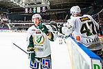 Stockholm 2014-01-18 Ishockey SHL AIK - F&auml;rjestads BK :  <br /> F&auml;rjestads Martin R&ouml;ymark har gjort 3-2 och tackas av lagkamrater F&auml;rjestads Ville Lajunen <br /> (Foto: Kenta J&ouml;nsson) Nyckelord:  jubel gl&auml;dje lycka glad happy