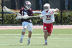 Orange, CA 05/01/10 - Magnus Karlsson (LMU # 17) and Spencer Halvorsen (Chapman # 30) in action during the LMU-Chapman MCLA SLC semi-final game in Wilson Field at Chapman University.  Chapman advanced to the final by defeating LMU 19-10.